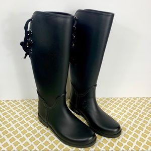 COACH Tristee Black Lace Up Mat Rubber Rain Boots